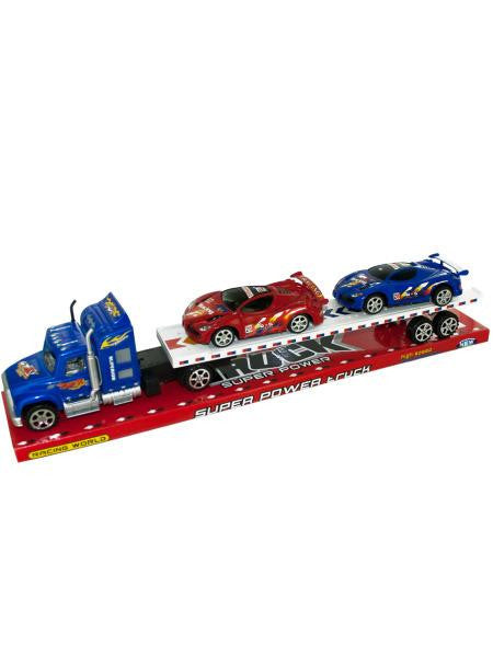Friction Powered Semi Truck & Race Cars Set (Available in a pack of 1)