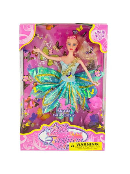 Butterfly Fairy Fashion Doll with Hairbrush (Available in a pack of 1)