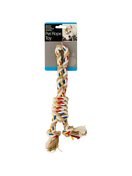 Colorful Knotted Pet Rope Toy with Handle (Available in a pack of 12)