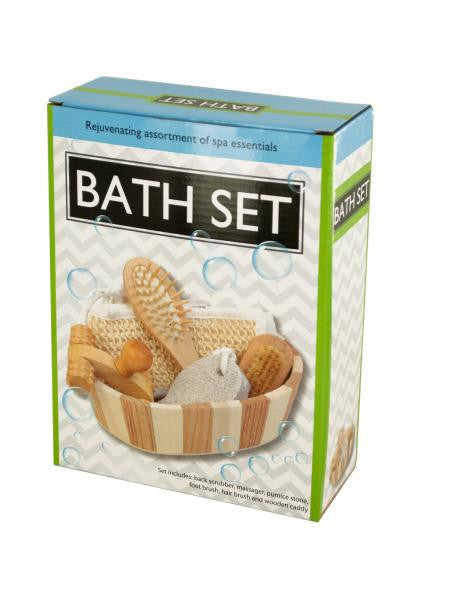 Essential Bath Set in Wooden Basket (Available in a pack of 1)