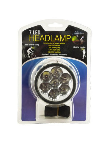 7 LED Pivoting Headlamp with Adjustable Strap (Available in a pack of 12)