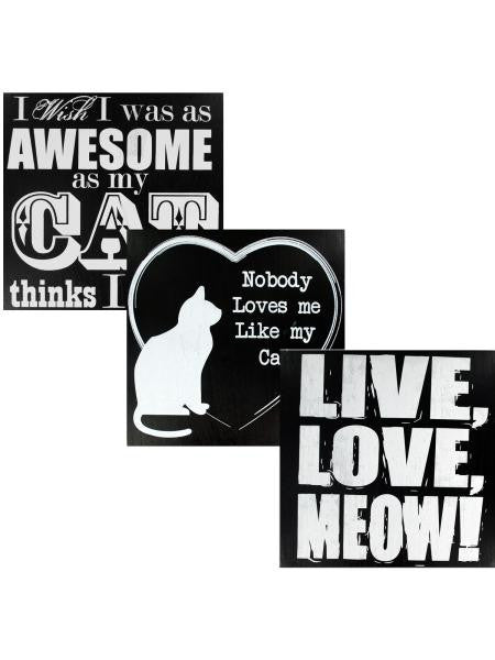 Black & White Wooden Cat Sign (Available in a pack of 4)