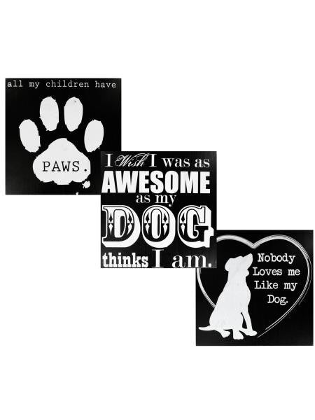 Black & White Wooden Dog Sign (Available in a pack of 4)