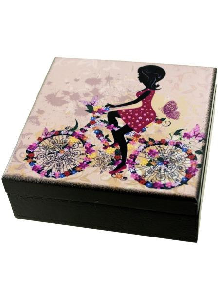 Whimsical Girl Wooden Trinket Box (Available in a pack of 6)