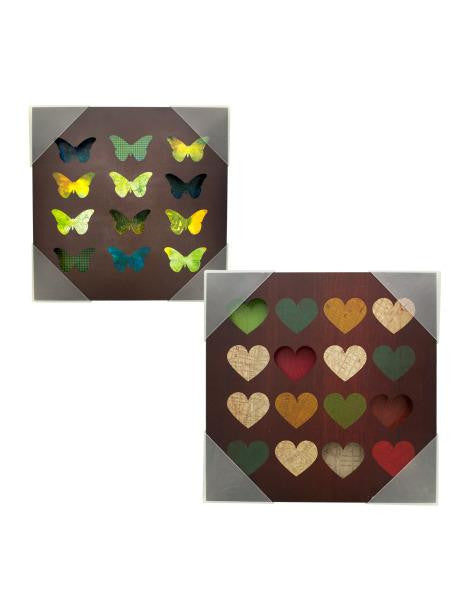 Hearts & Butterflies Grid Box Wall Art (Available in a pack of 4)