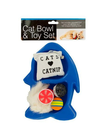 Fish-Shaped Cat Bowl & Toy Set (Available in a pack of 4)