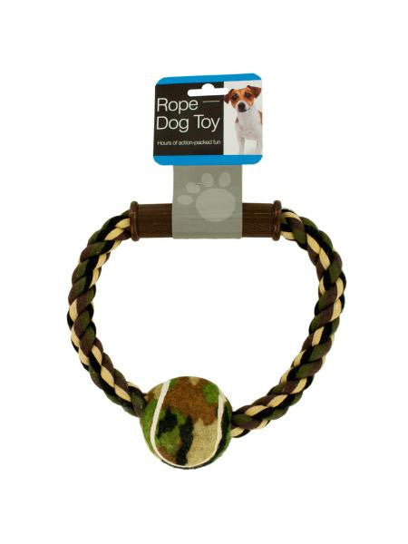 Camouflage Rope & Ball Dog Toy (Available in a pack of 8)