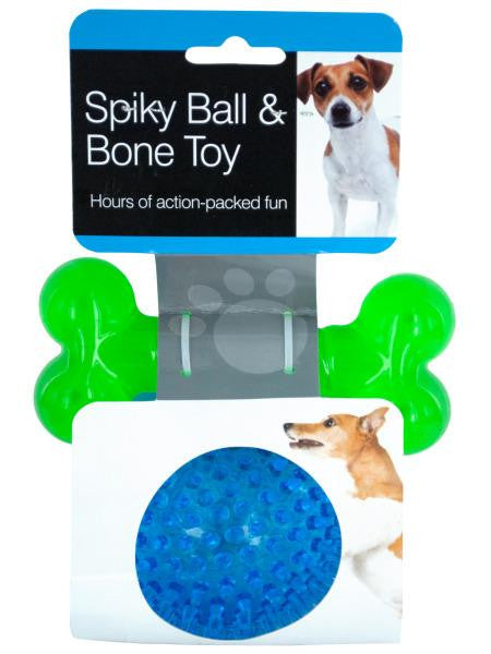 Spiky Ball & Bone Dog Toy Set (Available in a pack of 6)