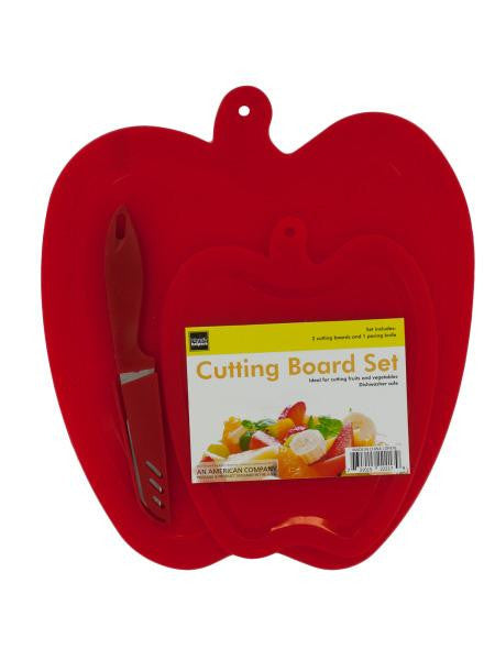 Apple Shape Cutting Boards & Knife Set (Available in a pack of 4)