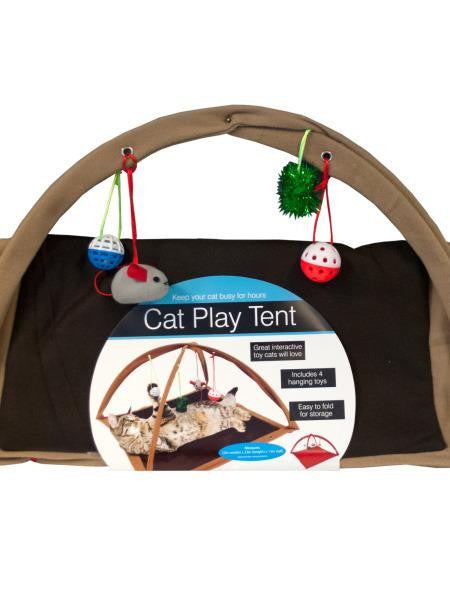 Fleece Cat Play Tent with Dangle Toys (Available in a pack of 1)
