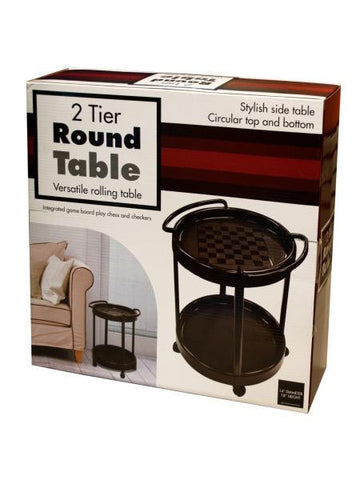 2 Tier Round Rolling Table (Available in a pack of 1)