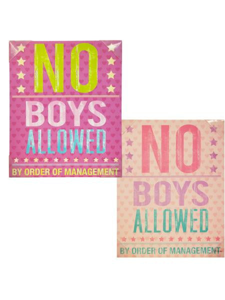 No Boys Allowed Canvas Wrapped Wall Art (Available in a pack of 1)