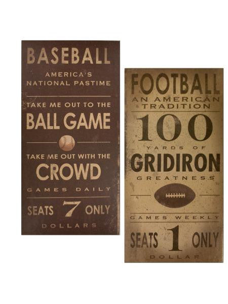 Vintage Sports Games Canvas Wrapped Wall Art (Available in a pack of 2)