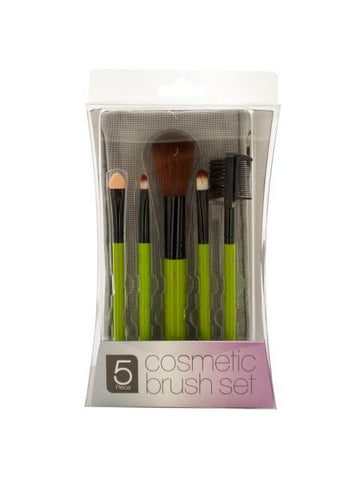 Cosmetic Brush Set with Mesh Zipper Case (Available in a pack of 4)