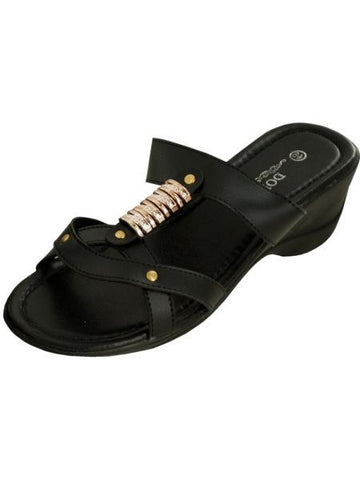 Black Strappy Wedge Sandals with Gold Accents (Available in a pack of 1)
