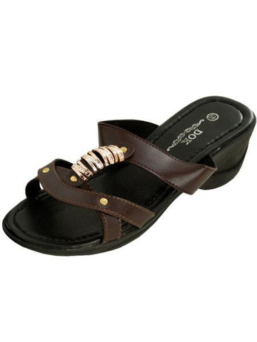 Brown Strappy Wedge Sandals with Gold Accents (Available in a pack of 1)