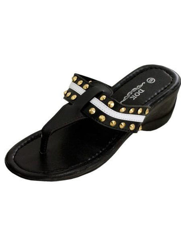 Black Wedge Sandals with Stripe & Spike Accents (Available in a pack of 1)