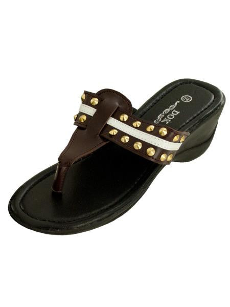 Brown Wedge Sandals with Stripe & Spike Accents (Available in a pack of 1)