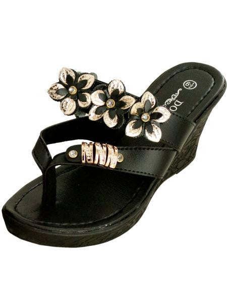 Black Floral Wedge Sandals with Gold & Jewel Accents (Available in a pack of 1)
