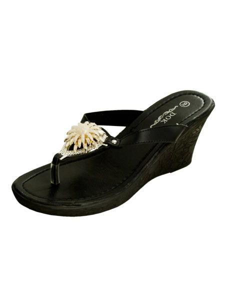Black Wedge Sandals with Gold Flower Accent (Available in a pack of 1)