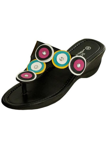 Black Wedge Sandals with Circle & Jewel Accents (Available in a pack of 1)