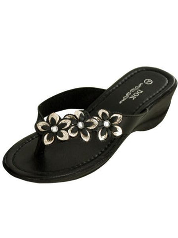Black Floral Wedge Sandals with Jewel Accents (Available in a pack of 1)