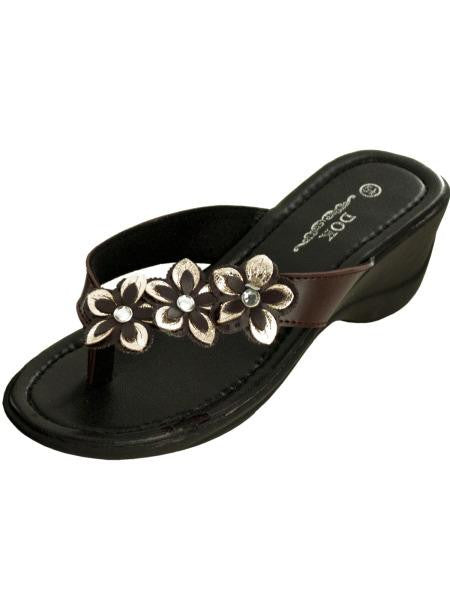 Brown Floral Wedge Sandals with Jewel Accents (Available in a pack of 1)