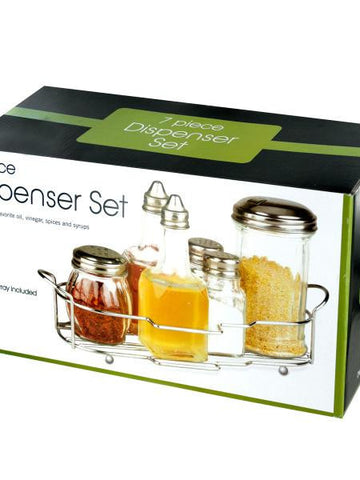 Glass Condiment Dispenser Set in Decorative Tray (Available in a pack of 1)