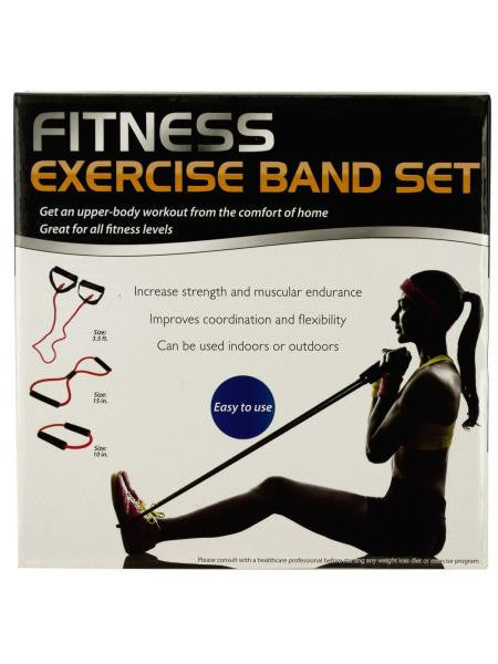 Fitness Exercise Band Set with Storage Bag (Available in a pack of 1)