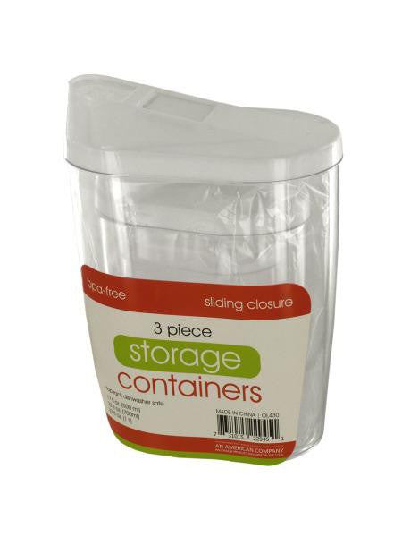Storage Containers with Sliding Closures Set (Available in a pack of 4)