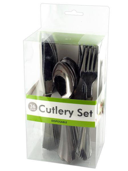 Disposable Silver Plastic Cutlery Set (Available in a pack of 4)