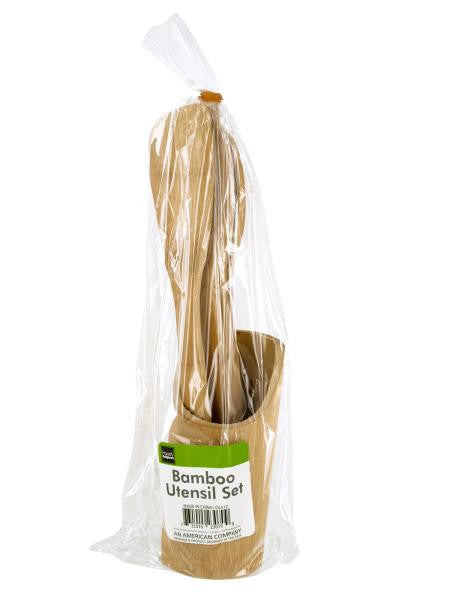 Bamboo Utensil Set with Container (Available in a pack of 4)
