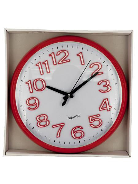 Large Easy to Read Round Red Clock (Available in a pack of 1)