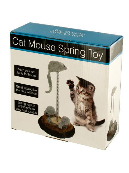 Cat Mouse Spring Toy with Furry Base (Available in a pack of 4)