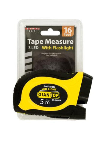 Self-Locking Tape Measure with LED Flashlight (Available in a pack of 1)