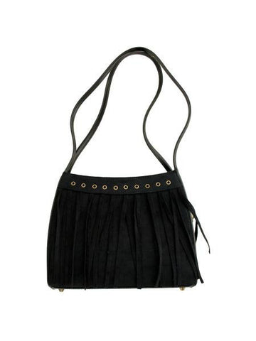 Black Faux Suede Divided Handbag with Tassels (Available in a pack of 4)