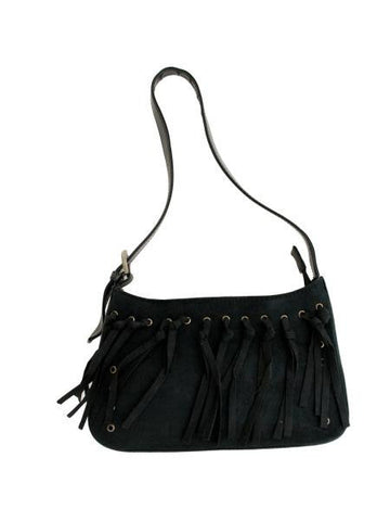 Small Black Faux Suede Handbag with Tassels (Available in a pack of 4)