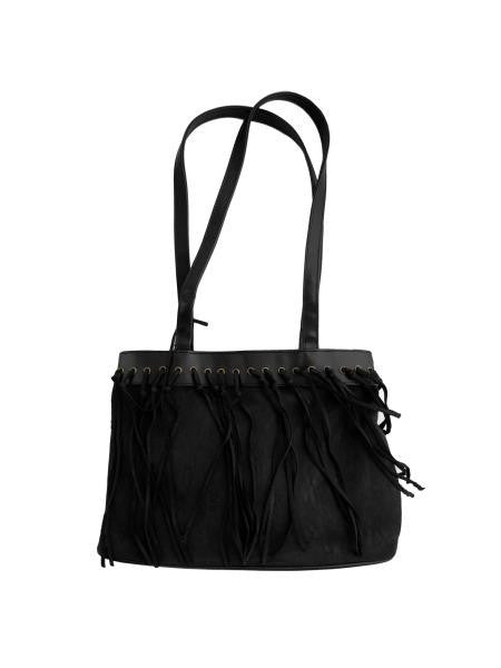 Black Faux Suede Handbag with Tassels (Available in a pack of 4)