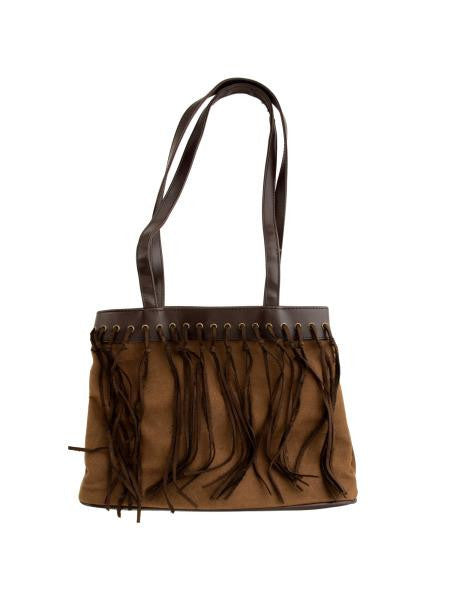Two Tone Brown Faux Suede Handbag with Tassels (Available in a pack of 4)