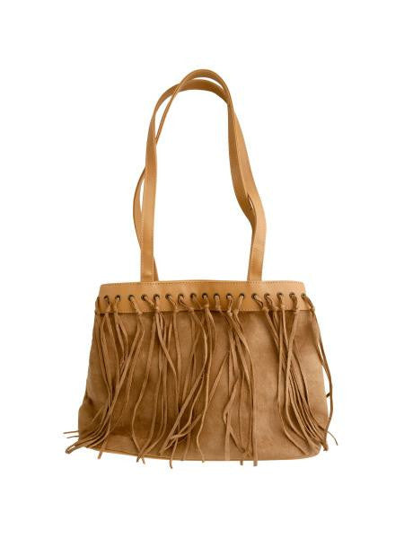 Tan Faux Suede Handbag with Tassels (Available in a pack of 4)