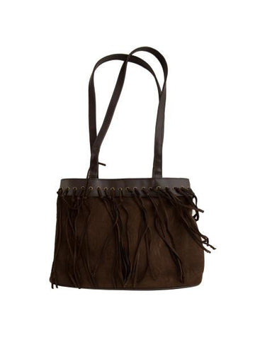 Dark Brown Faux Suede Handbag with Tassels (Available in a pack of 4)