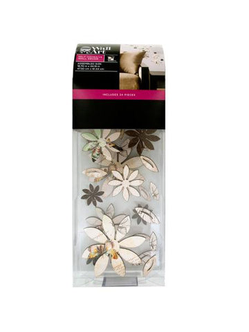 3D Printed Flowers & Leaves Self-Adhesive Wall Decor (Available in a pack of 4)