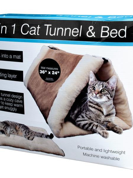 2 In 1 Cat Tunnel & Bed with Heating Layer (Available in a pack of 1)