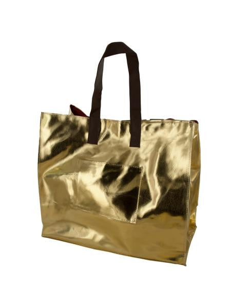 Gold & Red Reversible Tote Bag with Pockets (Available in a pack of 4)