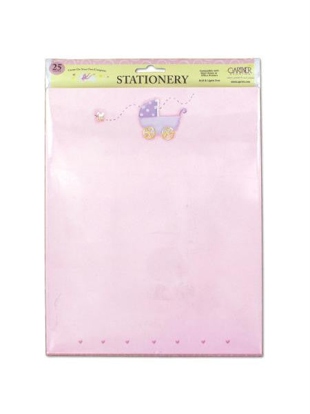 Pink baby stationery with baby carriage, pack of 25 sheets (Available in a pack of 24)