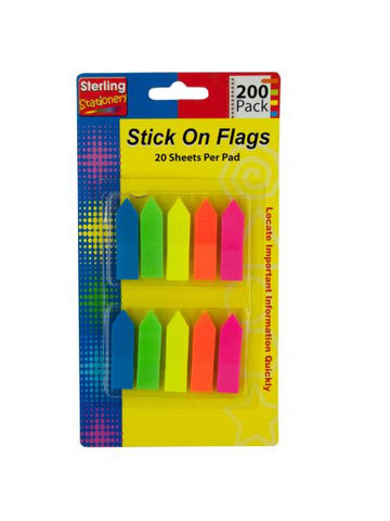 Neon Arrow Stick-On Flags Set (Available in a pack of 24)