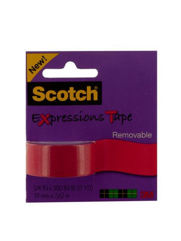 Scotch Expressions Removable Tape - Red (Available in a pack of 12)