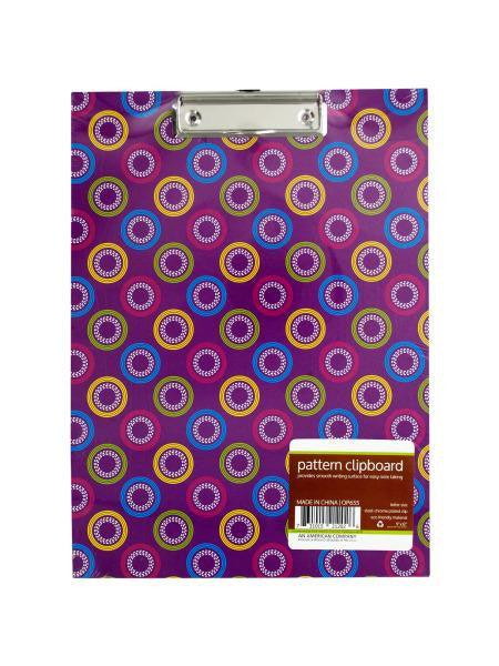 Pattern Clipboard with Steel Chrome Plated Clip (Available in a pack of 12)