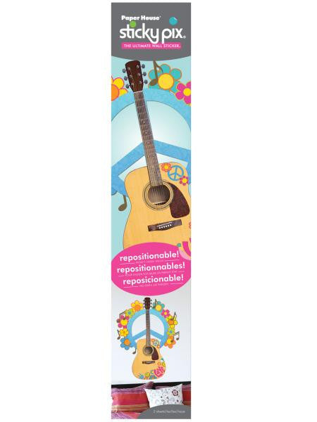 Peace Guitar Sticky Pix Adhesive Wall Decor (Available in a pack of 8)
