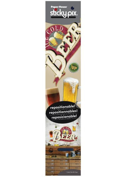 Ice Cold Beer Sticky Pix Adhesive Wall Decor (Available in a pack of 4)